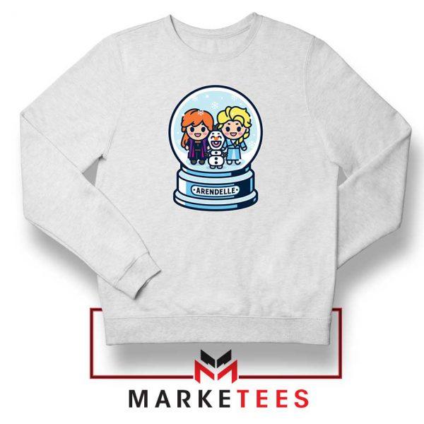 Elsa Anna Olaf Snow Globe White Sweatshirt