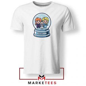 Elsa Anna Olaf Snow Globe White Tshirt