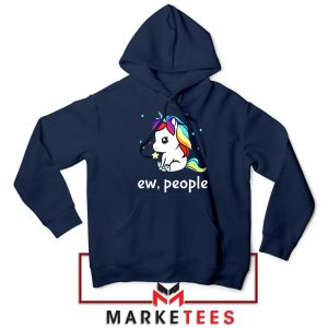 Ew People Unicorn Navy Blue Hoodie