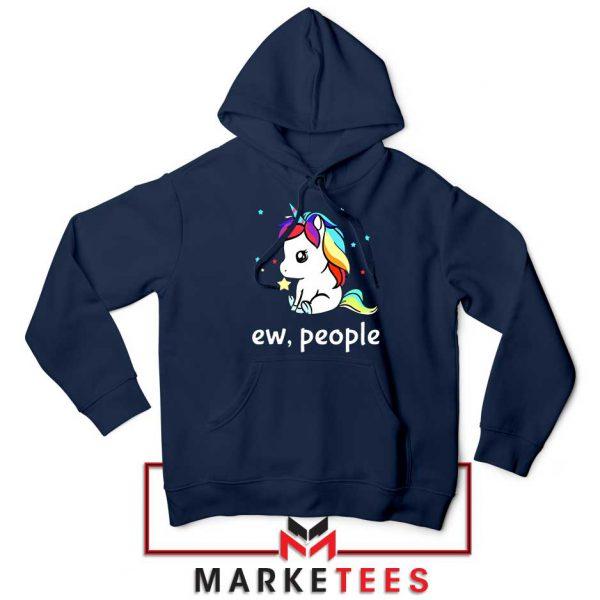 Ew People Unicorn Navy Blue Hoodie