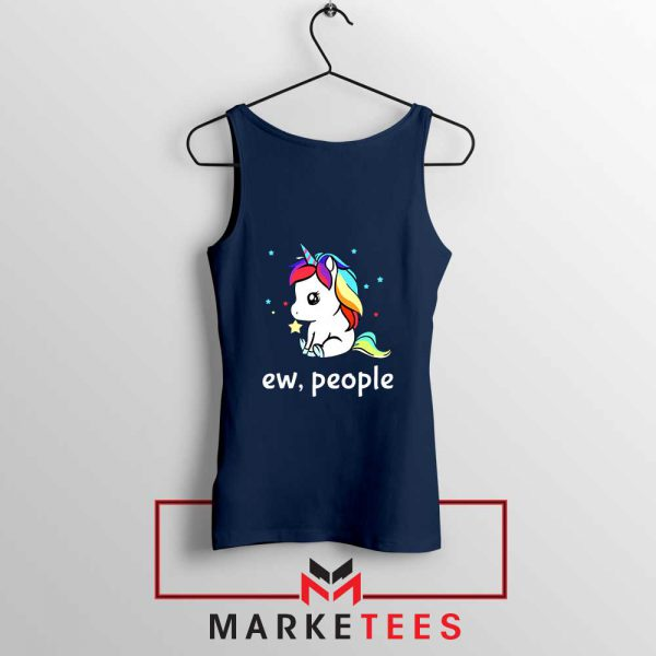 Ew People Unicorn Navy Blue Tank Top