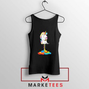 Funny Poop Unicorns Black Tank Top