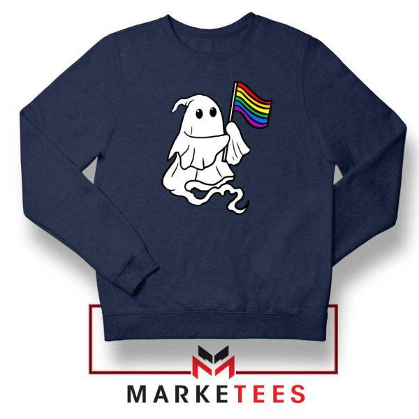 Ghost Rainbow Flag Navy Blue Sweatshirt