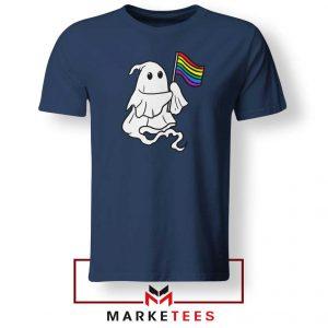 Ghost Rainbow Flag Navy Blue Tshirt