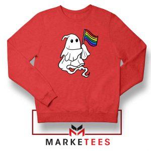 Ghost Rainbow Flag Red Sweatshirt