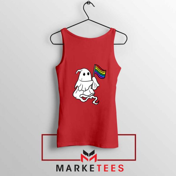 Ghost Rainbow Flag Red Tank Top