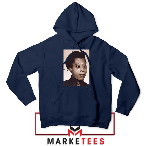 James Baldwin Potrait Navy Blue Hoodie