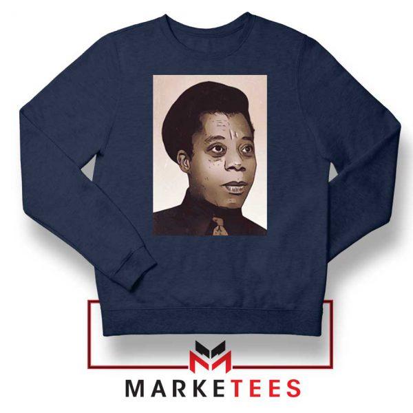 James Baldwin Potrait Navy Blue Sweatshirt