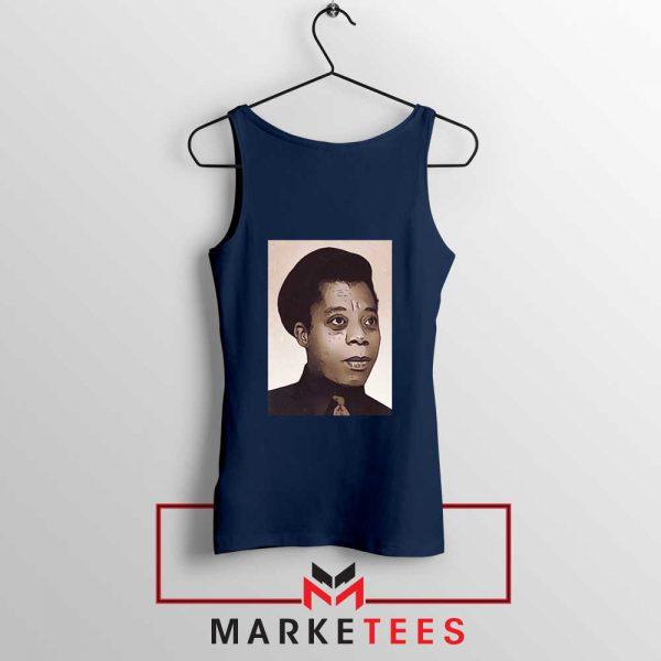 James Baldwin Potrait Navy Blue Tank Top
