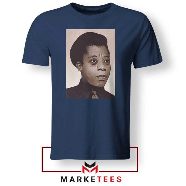 James Baldwin Potrait Navy Blue Tshirt