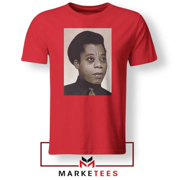 James Baldwin Potrait Red Tshirt