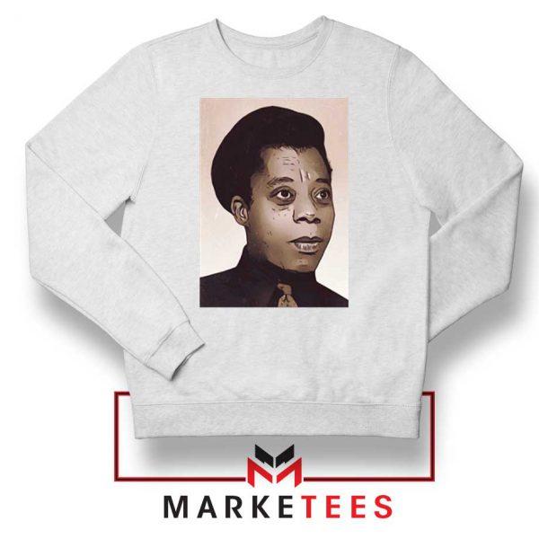James Baldwin Potrait White Sweatshirt