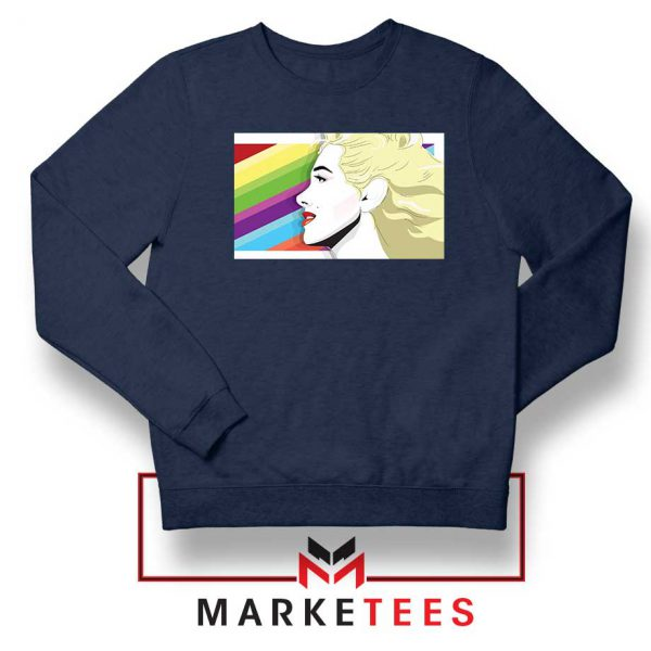 Marilyn Monrainbow Navy Blue Sweatshirt