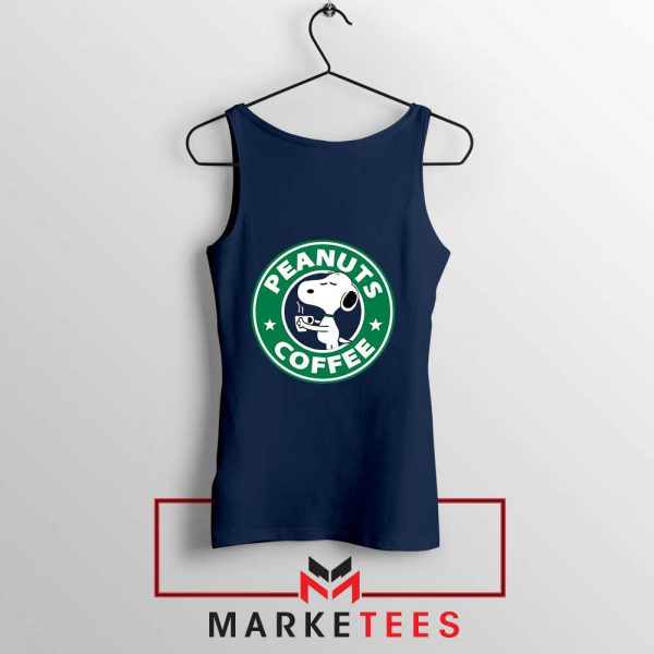 Peanuts Coffee Navy Blue Tank Top