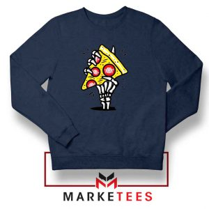 Pizza Skull Hand Navy Blue Sweatshirt