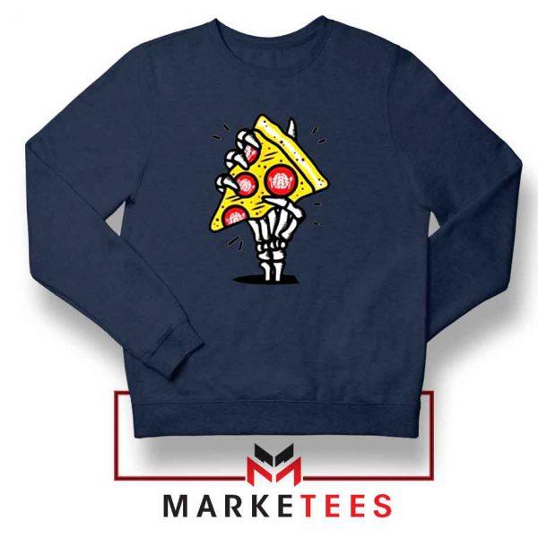 Pizza Skull Hand Navy Blue Sweatshirt