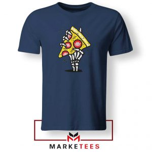 Pizza Skull Hand Navy Blue Tshirt