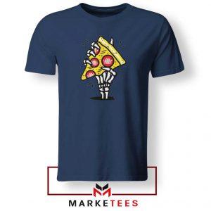 Pizza Skull Hand Navy Blue Tshirt