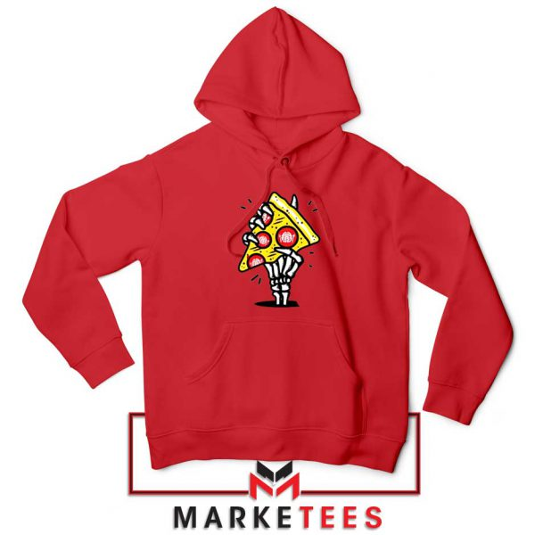Pizza Skull Hand Red Hoodie