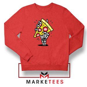 Pizza Skull Hand Red Sweatshirt