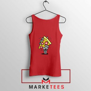 Pizza Skull Hand Red Tank Top