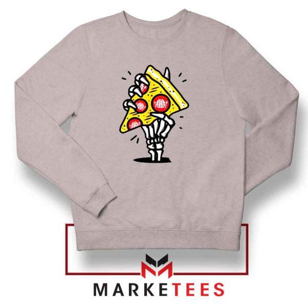 Pizza Skull Hand Sport Grey Sweatshirt