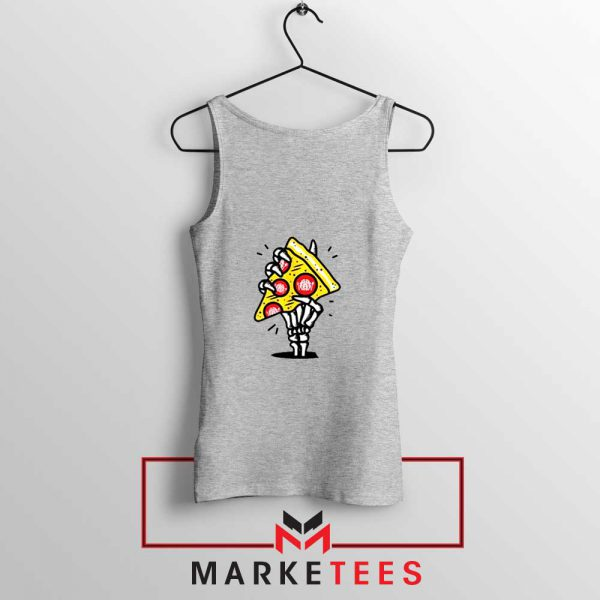 Pizza Skull Hand Sport Grey Tank Top