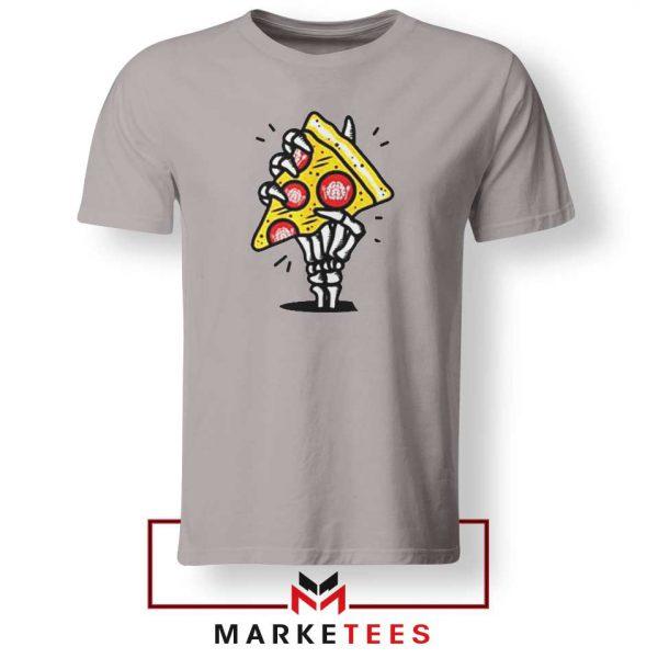 Pizza Skull Hand Sport Grey Tshirt