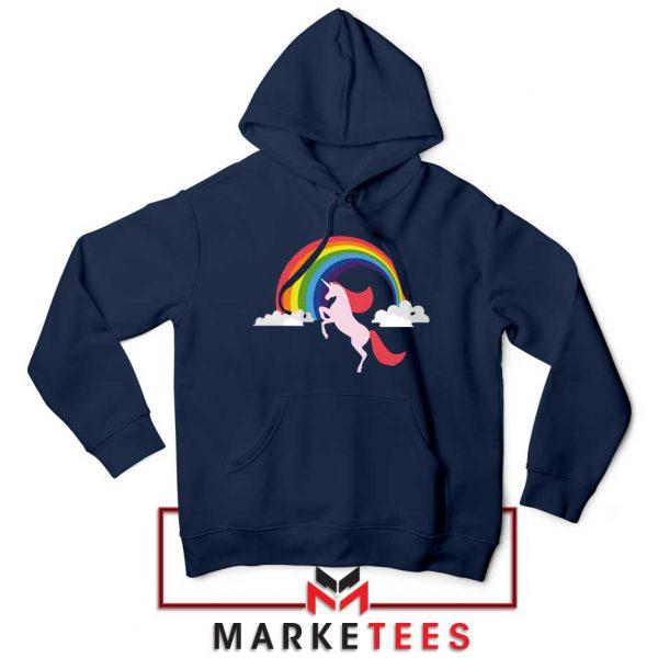 Rainbow Unicorn Navy Blue Hoodie