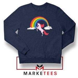 Rainbow Unicorn Navy Blue Sweatshirt