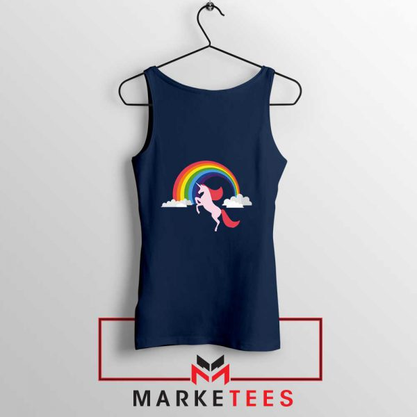 Rainbow Unicorn Navy Blue Tank Top