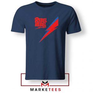 Rebel Rebel David Bowie Navy Blue Tshirt