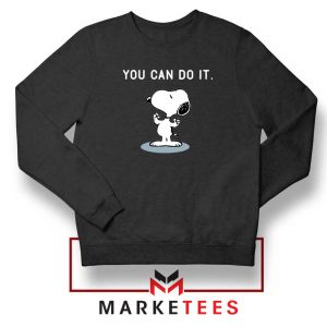Snoopy You Can Do It Black Sweatshirt