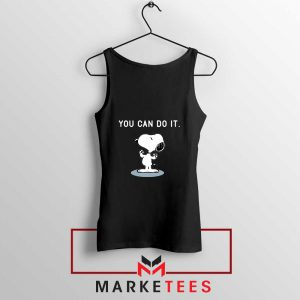 Snoopy You Can Do It Black Tank Top