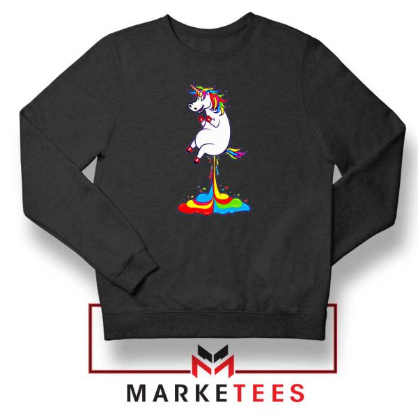 Unicorn Fart Rainbow Black Sweatshirt