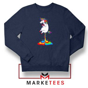 Unicorn Fart Rainbow Navy Blue Sweatshirt