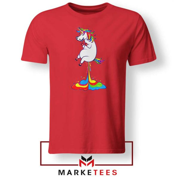 Unicorn Fart Rainbow Red Tshirt