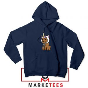 Vizsla Unicorn Hat Navy Blue Hoodie
