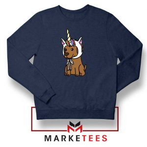 Vizsla Unicorn Hat Navy Blue Sweatshirt
