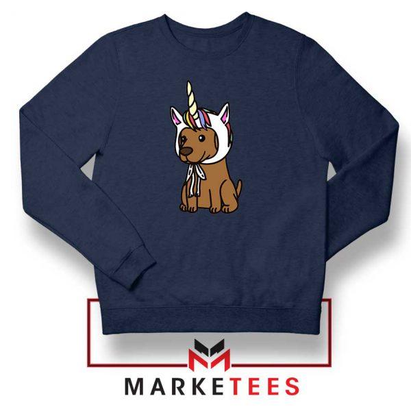 Vizsla Unicorn Hat Navy Blue Sweatshirt