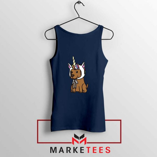 Vizsla Unicorn Hat Navy Blue Tank Top