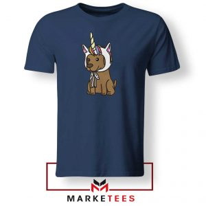 Vizsla Unicorn Hat Navy Blue Tshirt
