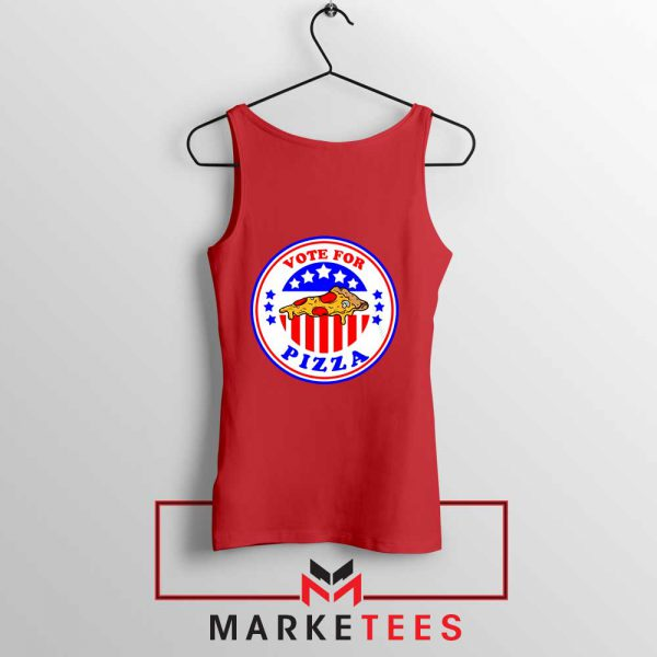 Vote For Pizza President Red Tank Top