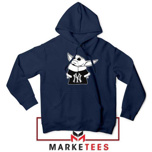 Baby Yoda Yankees Navy Blue Hoodie