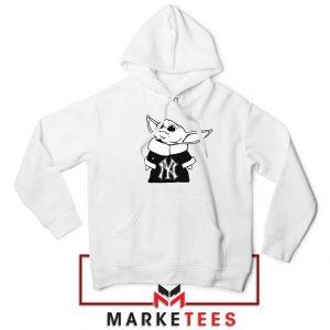 Baby Yoda Yankees White Hoodie