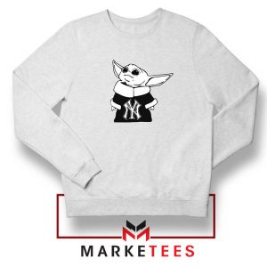Baby Yoda Yankees White Sweatshirt