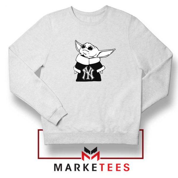 Baby Yoda Yankees White Sweatshirt