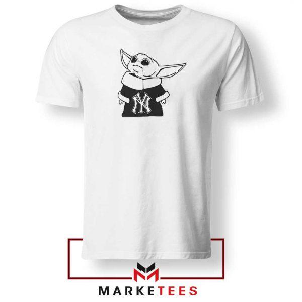 Baby Yoda Yankees White Tshirt