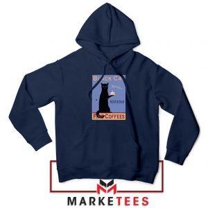 Black Cat Coffee Navy Blue Hoodie