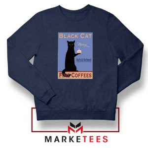 Black Cat Coffee Navy Blue Sweatshirt